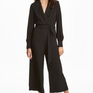 H&M Black Crepe Jumpsuit Capri Length